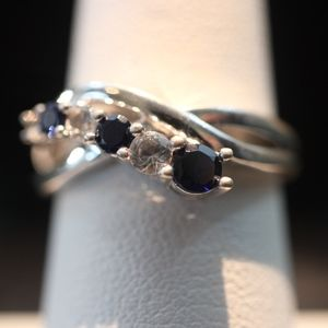 Sterling Silver Ring (Blue & White Sapphires)